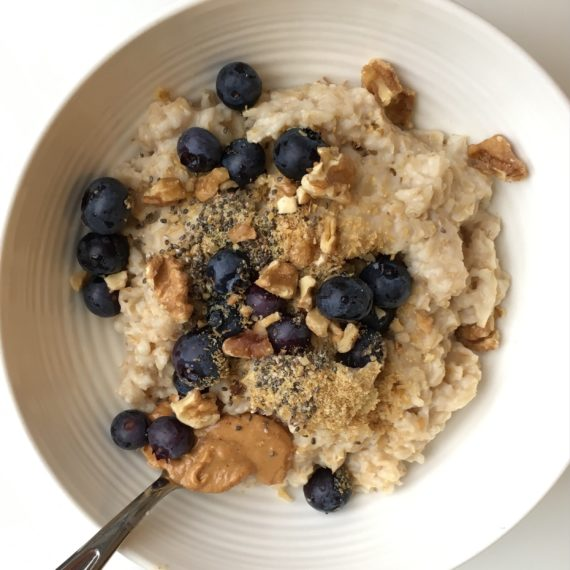 gluten free peanut butter blueberry oatmeal recipe at nutritionbliss.com